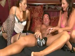 2 aged hotties give a pantyhose footjob