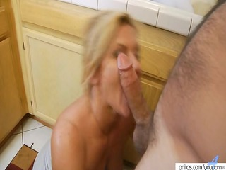 hardcore cougar milf in dining room  takes