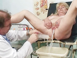 bleached grandma horny kitty exam with enema