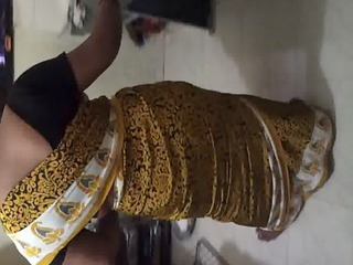 drill my wife jyoti in satin saree