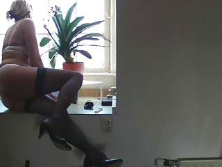 older  lady woman bushy pale casting pantyhose