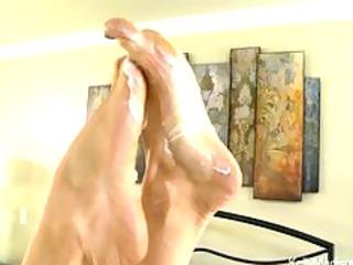 super titted woman gives a fantastic footjob