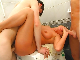 awesome woman inside the bathroom with two