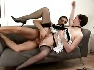 grownup maid takes spanked by male