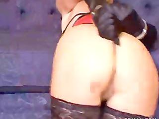woman struggles into bondage for you