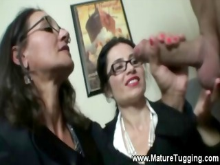 two lingerie wearing milfs love tugging