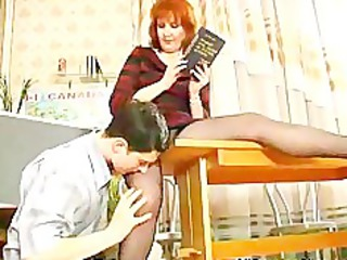 grownup teaches her student russian cumshots