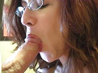 ginger momma with large breast and glasses gives