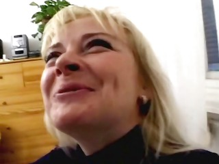 fairhaired bigtittied mommy gets on her son`s