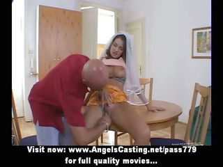 little brunette bride does fellatio and has pussy