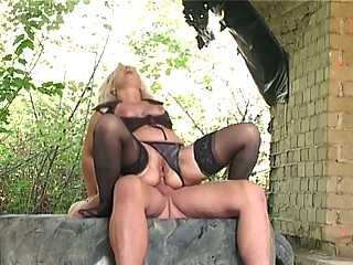 blond old gangbanged difficult outside by big
