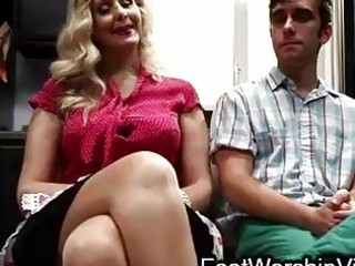 boy fucks and sucks legs on milf