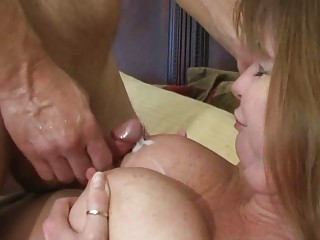 blonde brunette lady obtains white cream on her