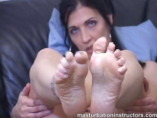 masturbation teacher teases horny men for footjob