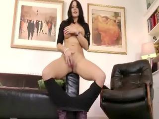 old older slut with a giant butt massages a super