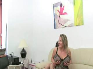 older chick sex on leather couch