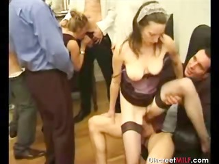 bunch  of dudes on one mature slut