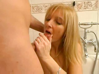 blonde italian mother enjoys with son