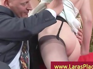 horny girl into pantyhose with a older  guy
