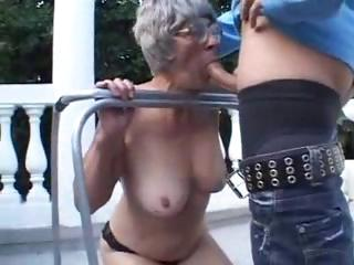 elderly is openair licking on a fresher penis and