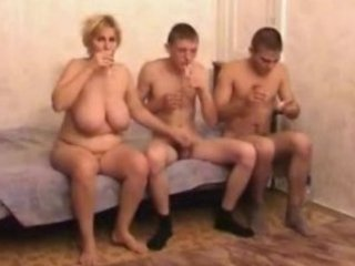 naughty cougar milf with two fuckers