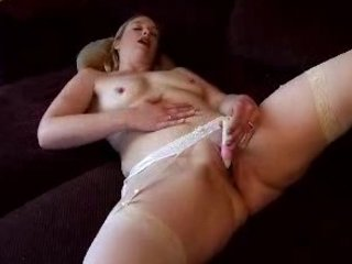 busty lady bed masturbation