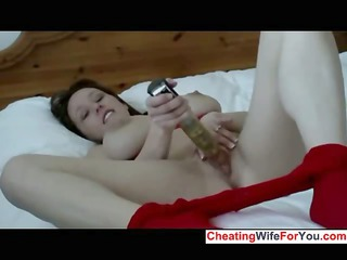 bitch with large tits teases with a giant device