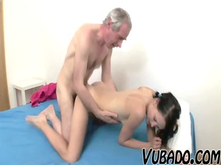 thin brunette fucked by an old male !!