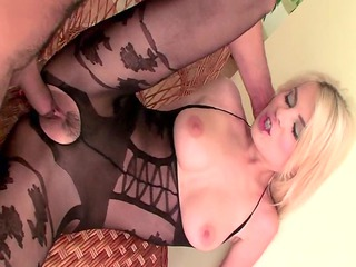 blond fuck inside a bodystocking