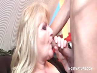 blonde cougar adores licking dick and rimming