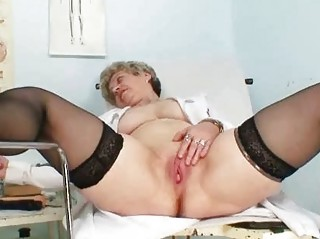 horny elderly into uniform stretching her aged
