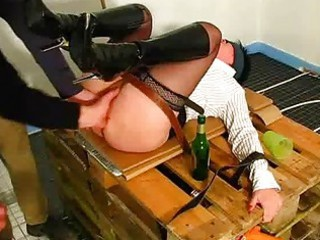 fresh housewife fisted by two builders