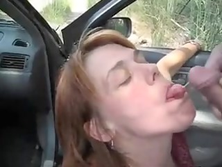 car oralservice pleasure and sperm flow with a