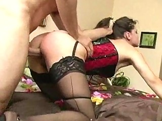 woman inside corset and nylons acquires ridden