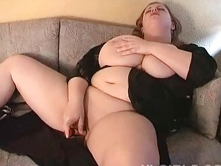 awesome large boobed lady fatty plays  on the