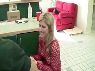 lady visits her son at job