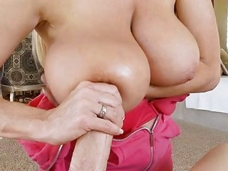 enjoying bleached woman with huge breast does