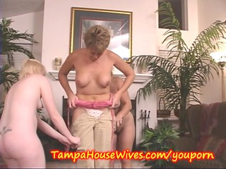 2 milfs teach a amateur housewife to gathering