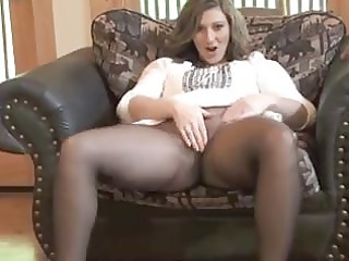 sexy milf taking off into seamless nylons