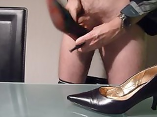 banging with and cumming inside wifes high heel