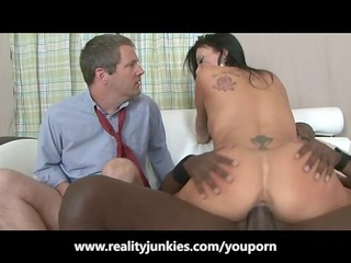 lover watches his lady fuck a dark male