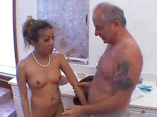 grandpa blown by awesome eastern  angel into tub 3