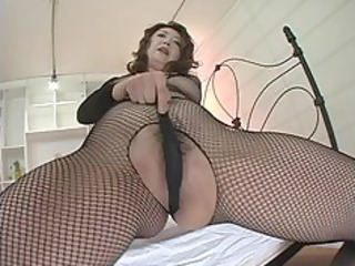 japanese milf inside ebony fishnets masturbation