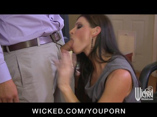 super horny woman boss deepthroats employees cock