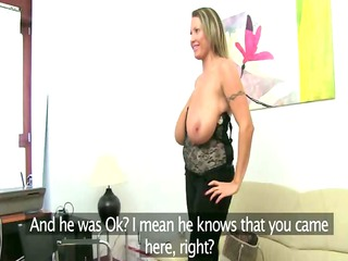 cougar woman loving on leather couch