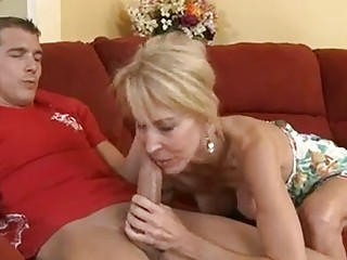 awesome older  erica lauren fills her oral with a